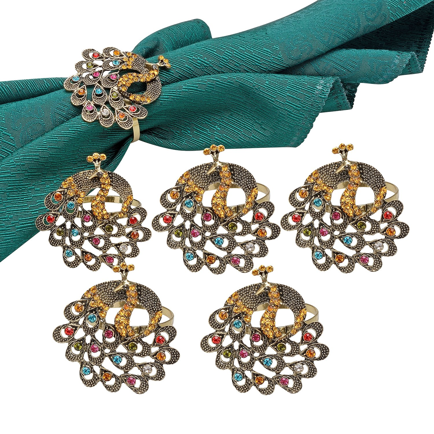 TTOYOUU Set of 6 Alloy Delicate Vintage Peacock Napkin Rings Colorful Diamonds Dinner,Banquet,Parties (Vintage Peacock)