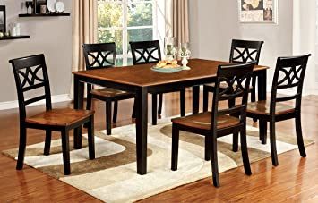 Furniture Of America Cherrine 7 Piece Country Style Dining Set, Cherry/Black