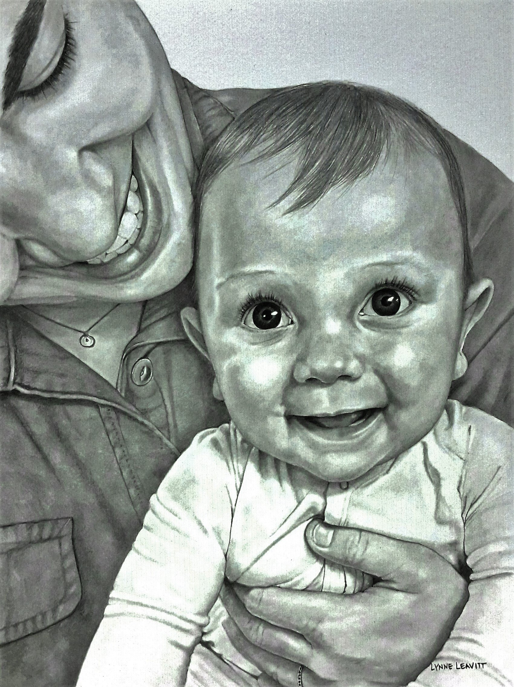Baby and Mother custom portrait pencil drawing commission by Lynne Leavitt Portraits (Image #1)