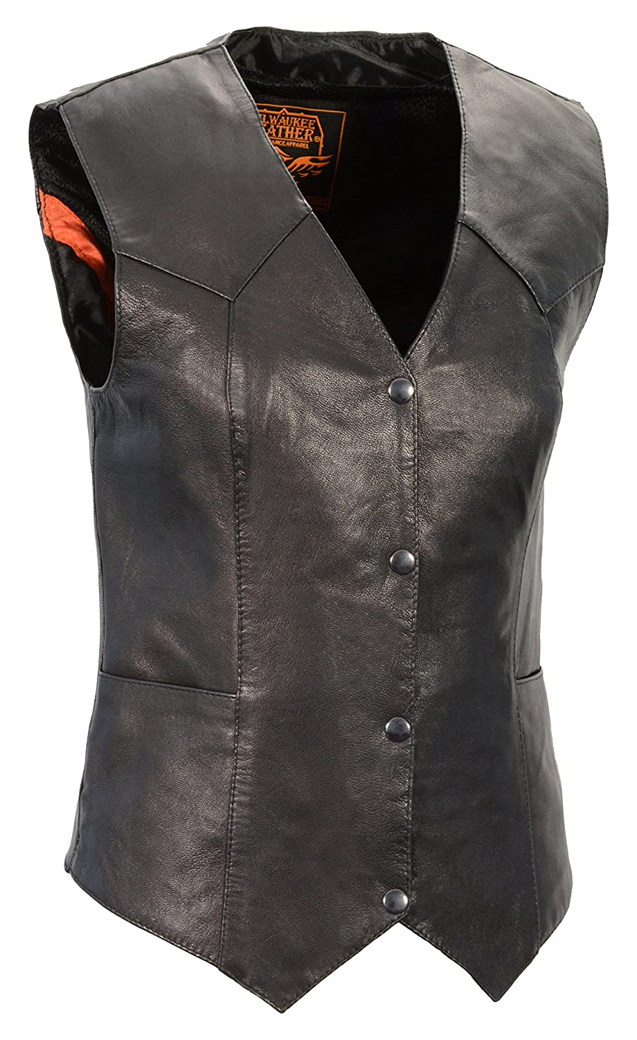 Milwaukee Leather Womens Classic Four Snap Vest Black, Large