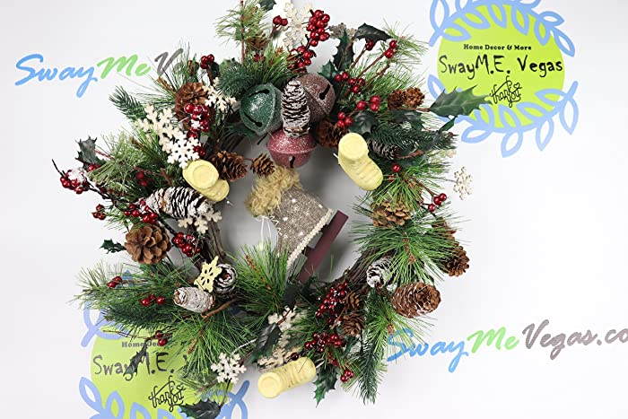 woodland skates and bells christmas wreath grapevine christmas wreath christmas rustic bells wreath