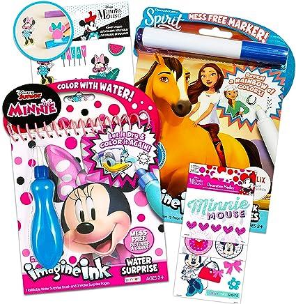 Disney Shop Juego De Pintura De Minnie Mouse Con Agua Para Niños Pequeños 2 Libros Sin Líos Con Cepillo Sorpresa De Agua Bolígrafo Y Pegatinas Suministros Para Fiestas De Minnie