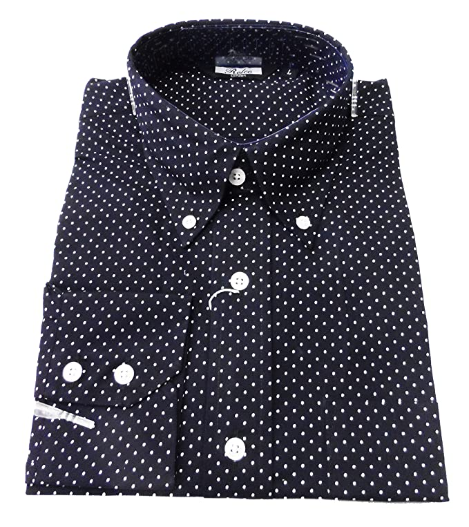 Vintage Shirts – Mens – Retro Shirts Shirt Micro Dot Mens Navy Blue Cool Classic Mod Vintage Design Relco £31.99 AT vintagedancer.com