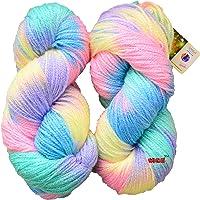 GANGA Glow Knitting Yarn Wool, Icey Pink 200 gm Woolen Crochet Yarn Thread. Best Used with Knitting Needles, Crochet Needles. Vardhman Wool Yarn for Knitting. Best Woolen Thread.