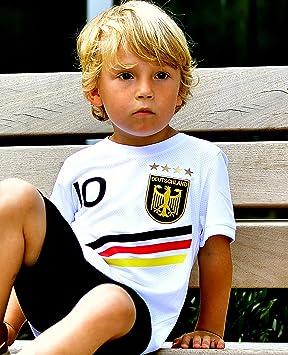 ElevenSports Deutschland Trikot mit GRATIS Wunschname + Nummer + Wappen Typ #D 2018 im EM/WM Weiss - Geschenke für Kinder,Jun