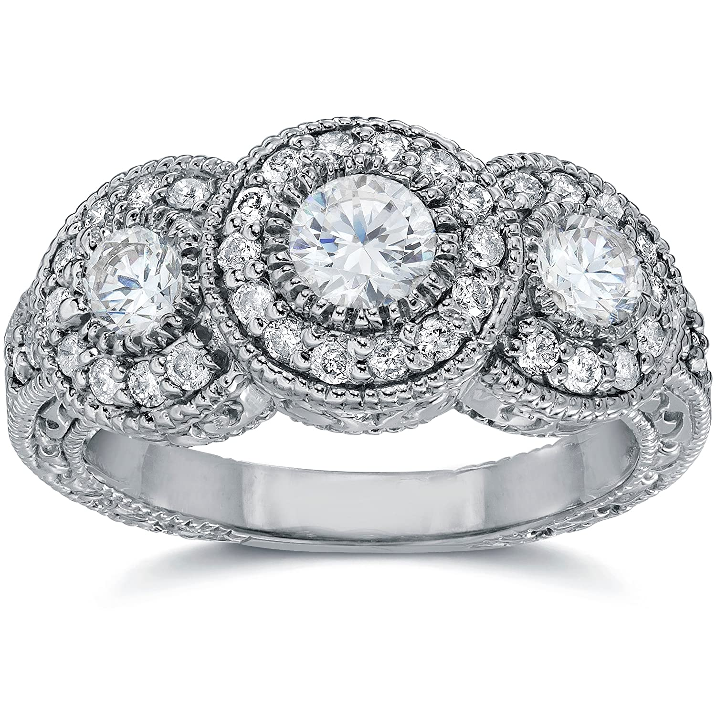 sale 150ct vintage diamond engagement ring 3 stone antique bezel white gold 4 9 amazoncom - Vintage Diamond Wedding Rings