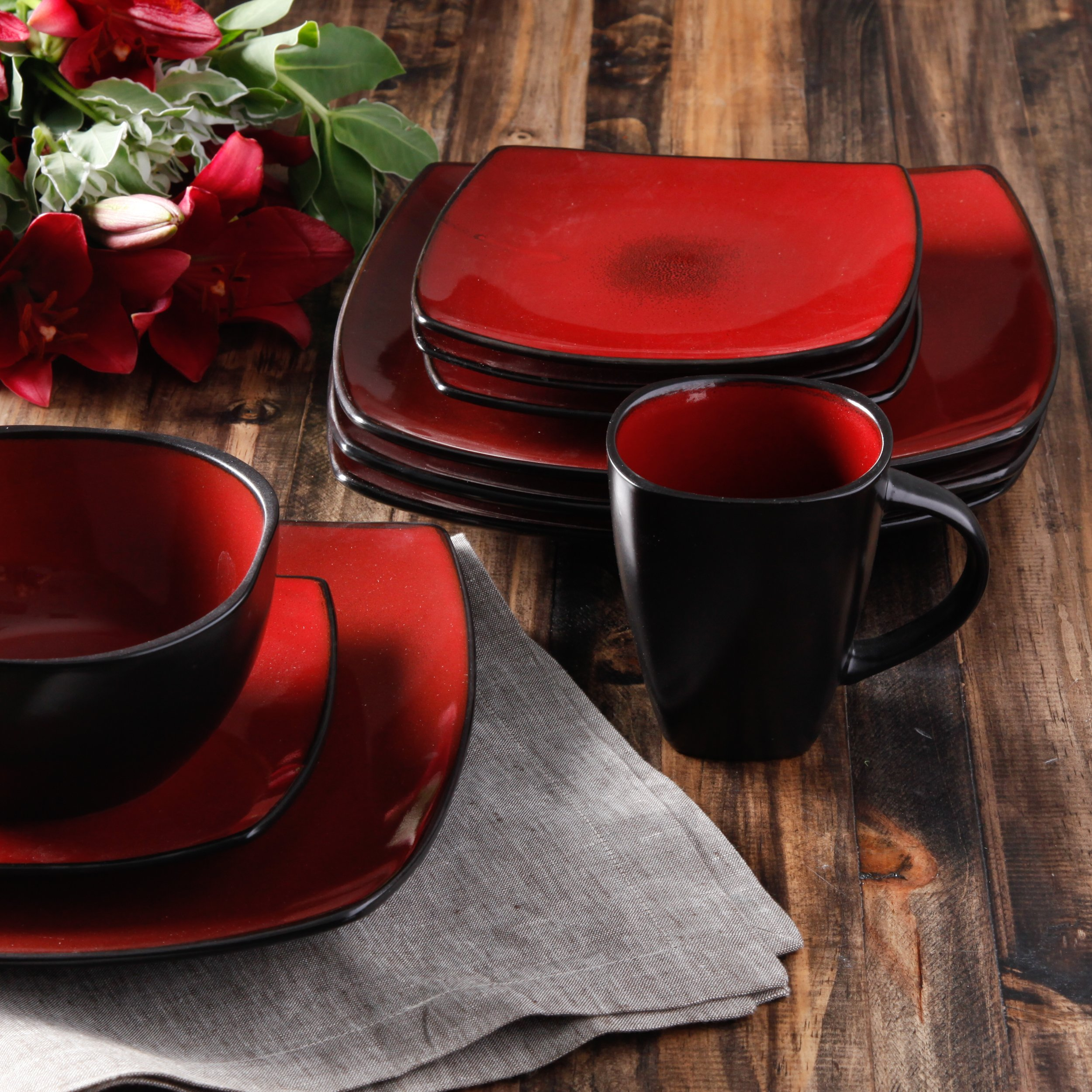 Gibson Elite 61220.16RM Soho Lounge 16-Piece Square Reactive Glaze Dinnerware Set, Red by Gibson (Image #6)