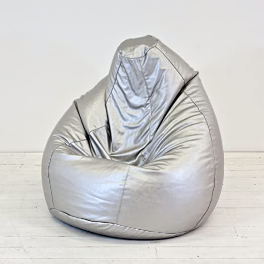 Faux Leather Metallic Silver Classic Pear Gaming Bean Bag With Filling