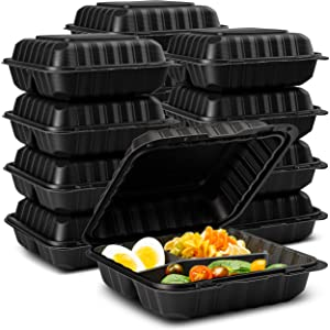 "Eco-Friendly Meal Prep Containers 3 Compartment [50-Pack 8x8x3""] Disposable to go Clamshell Food Containers Secure Snap Hinged Lid, Microwave Safe Take Out Lunch Boxes, Made from Renewable Materials"