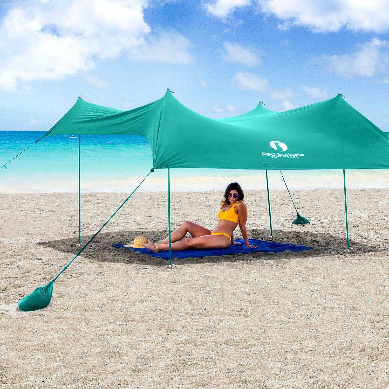 Red Suricata Family Beach Sunshade