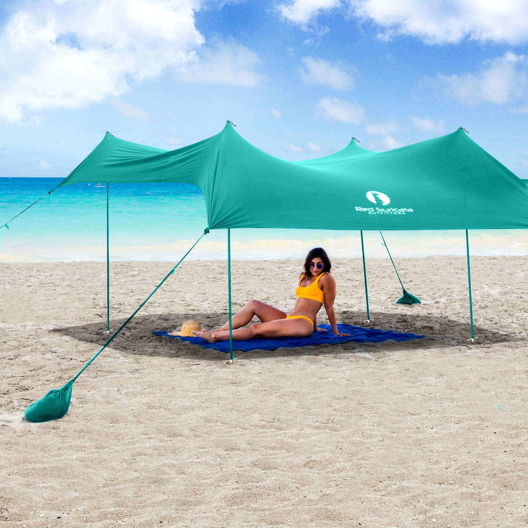 Red Suricata Family Beach Sunshade - Sun Shade Canopy | UPF50 UV Protection | Tent with 4 Aluminum Poles, 4 Pole Anchors, 4 Sandbag Anchors | Large & Portable Shelter Tarp (Turquoise, Large) by Red Suricata