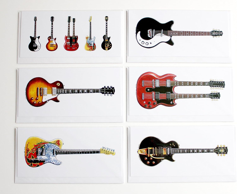 George Morgan Illustration Guitarras de Jimmy Page, Paquete de 6 ...