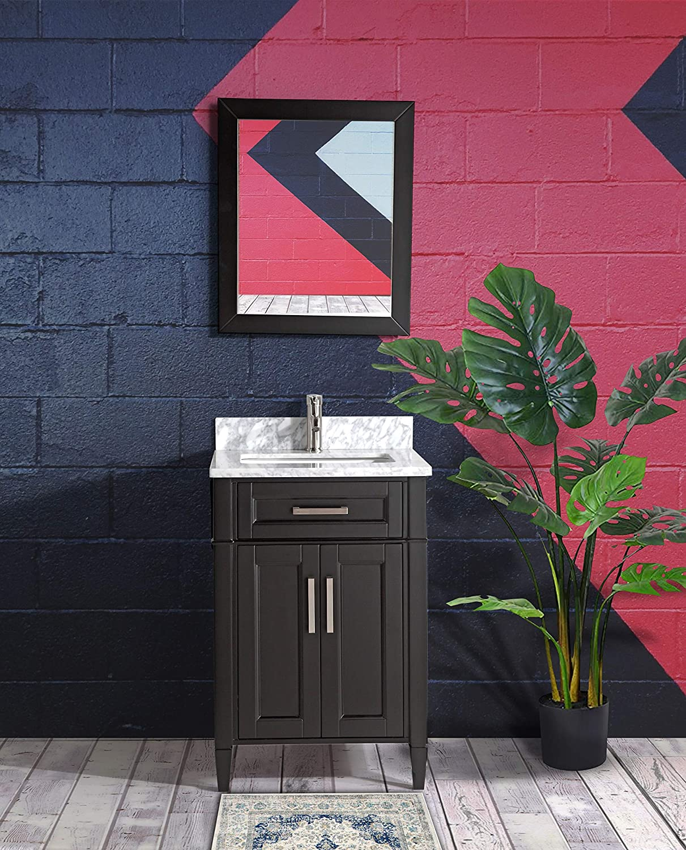 Vanity Art 24 Inch Single Sink Bathroom Vanity Set Carrara Marble Stone Top Soft Closing Doors Undermount Rectangle Sink Cabinet with Free Mirror VA2024-E