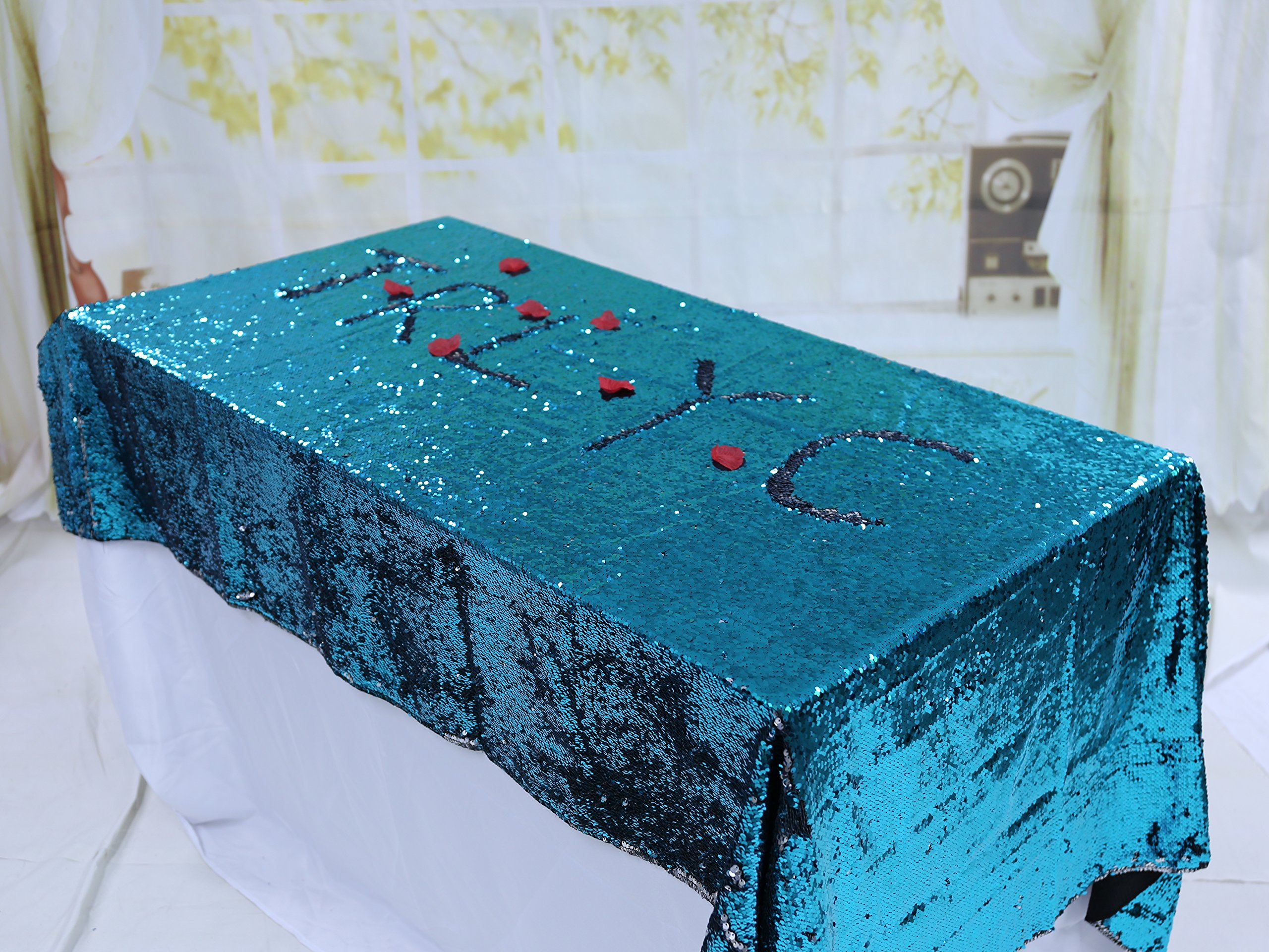 TRLYC Turquoise and Silver Reversible Sequin Table Cloth-90x132-Inch