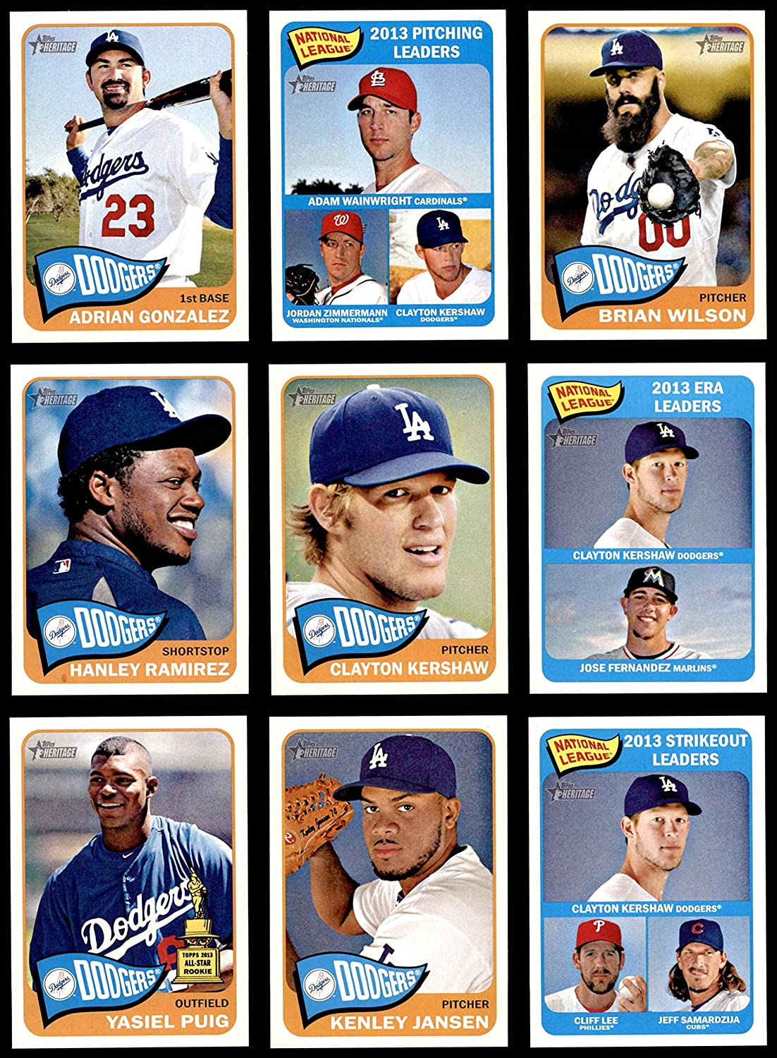 2014 Topps Heritage Los Angeles Dodgers Almost Complete Team Set Los Angeles Dodgers (Baseball Set) Dean's Cards 8 - NM/MT Dodgers 91qDW-xiRaLSL1500_