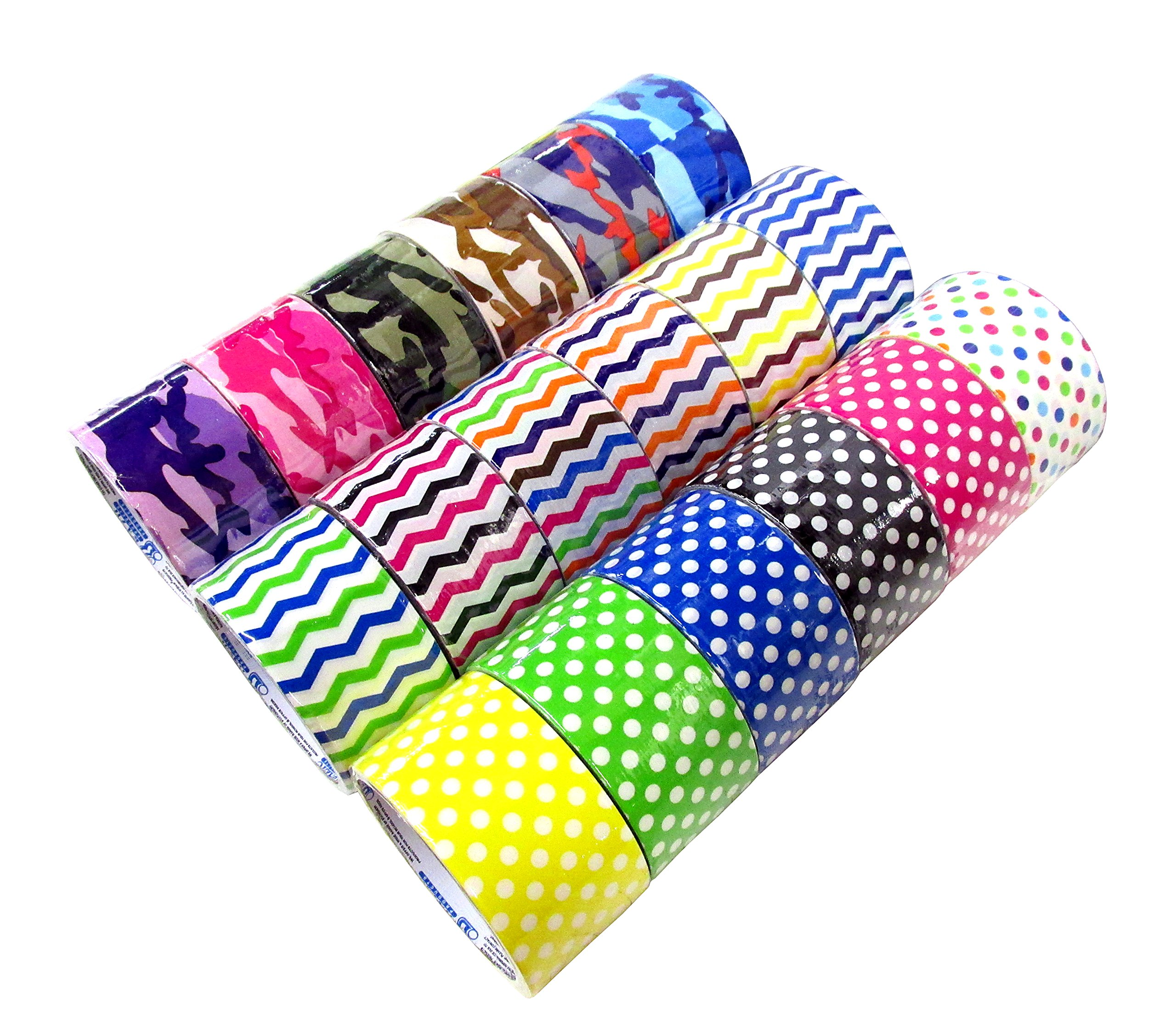 18 Roll Variety Pack of Decorative Duct Style Tape! (6 Polka-dot + 6 Chevron + 6 Colorful Camouflage)