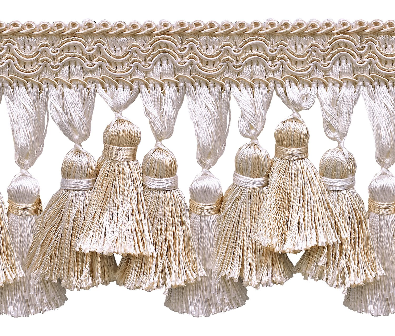 4001 D/ÉCOPRO Ivory Sold by The Yard Light Beige 2 3//4 inch Imperial IITassel Fringe Style# NT2502 Color: White Sands