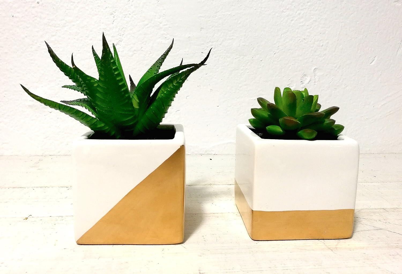 人工多肉植物with Square 2-toned磁器ポット、2のセット、ホームガーデン装飾。 B073CGGCP2