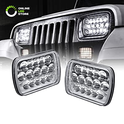 7x6 5x7 LED Headlights H6054 H5054 [45W] [H4 Plug & Play] [Low/High Beam: 6/15 LEDs] - H6054LL 69822 6052 6053 Head Light for Jeep Wrangler YJ Cherokee XJ: Automotive