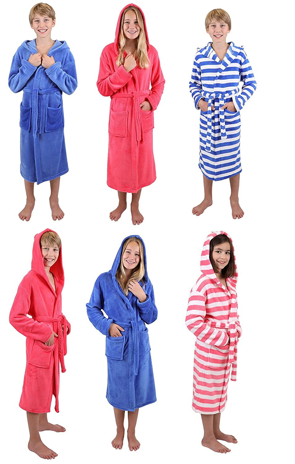 Betz Kids Hooded Bathrobe Kids Comfort striped or uni Colours: blue and pink