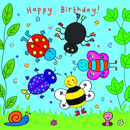 Twizler Spinning Happy Birthday Card For Child With Bugs Childrens