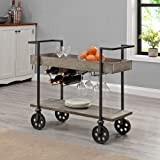 FirsTime & Co. Gray Factory Row Industrial Farmhouse Bar Cart, American Designed, Gray, 30 x 13 x 32.5 inches