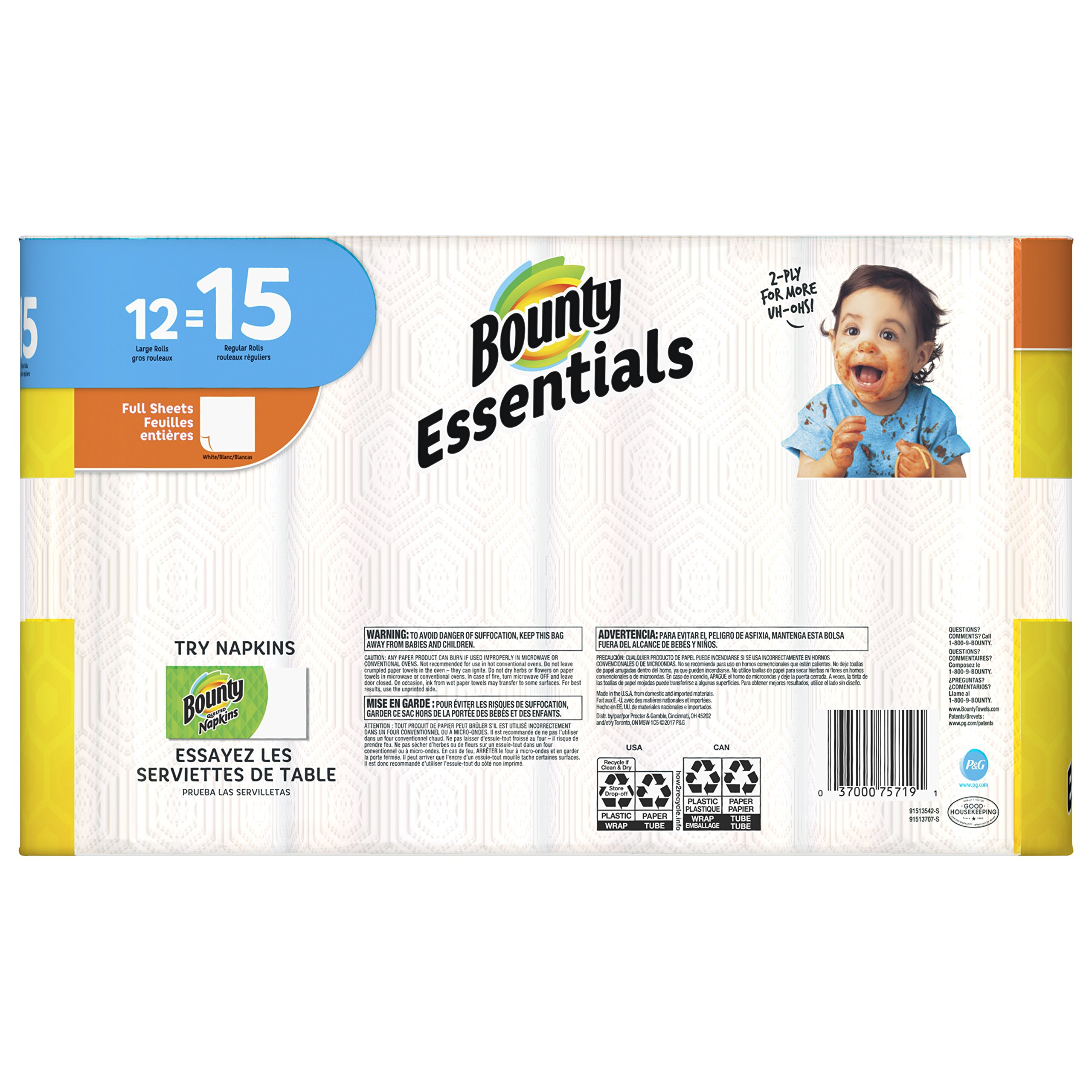 Bounty Full Sheet Paper Towels Giant Rolls: Bounty Essentials Full Sheet Paper Towels, 24 Large Rolls