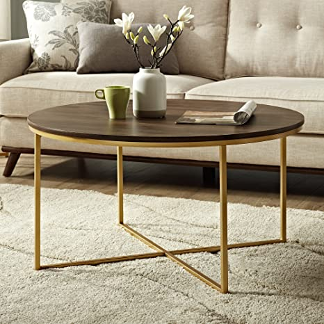 Amazon Com New 36 Inch Coffee Table With Dark Walnut Finish And Gold Base Kitchen Dining