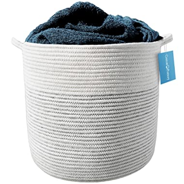 "Cotton Pottery Extra Large Cotton Rope Basket 17  X 15"" Decorative Woven Blanket Basket, Baby Bin, Laundry Hamper 