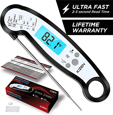 Kizen Instant Read Meat Thermometer - Best Waterproof Alarm Thermometer with Backlight & Calibration