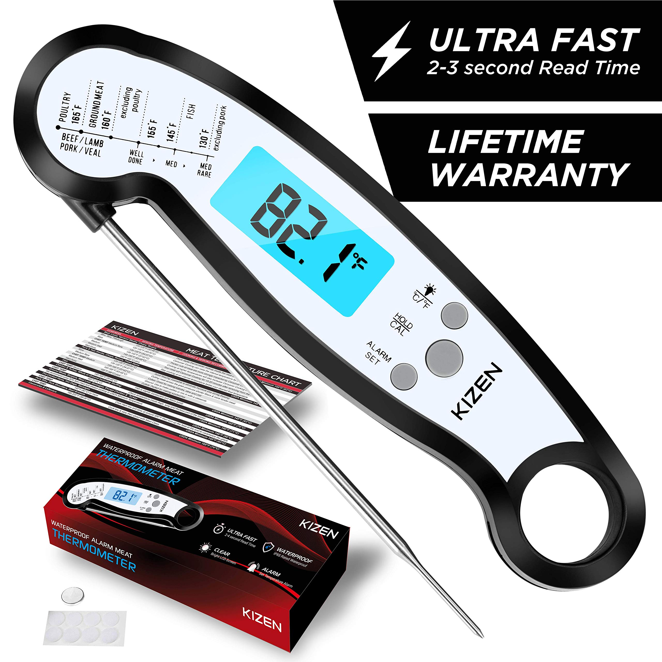 Kizen Instant Read Meat Thermometer - Best Waterproof Alarm Thermometer with Backlight & Calibration. Kizen Digital Food Thermometer for Kitchen, Outdoor Cooking, BBQ, and Grill! by Kizen