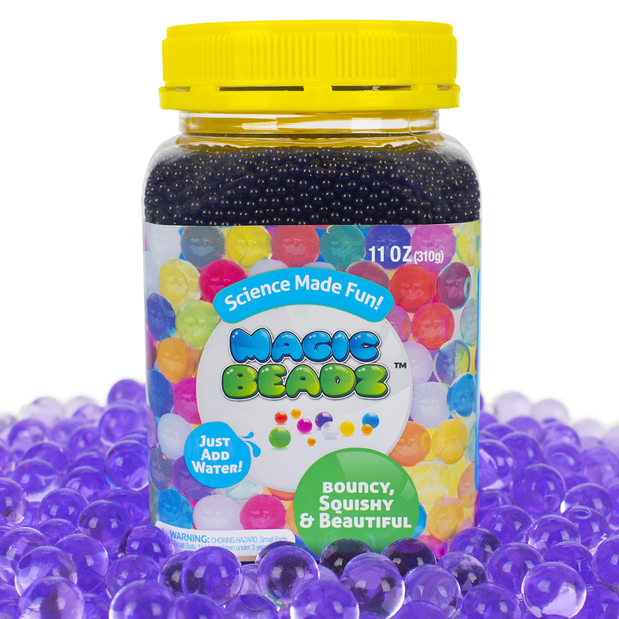 Magic Beadz Purple Gel Water Beads - Transparent Jelly Pearls - Vase Filler - Wedding Centerpiece - Candles - Flower Arrangements - Over 30,000 Beads - 11oz Jar Makes Over Ten Gallons