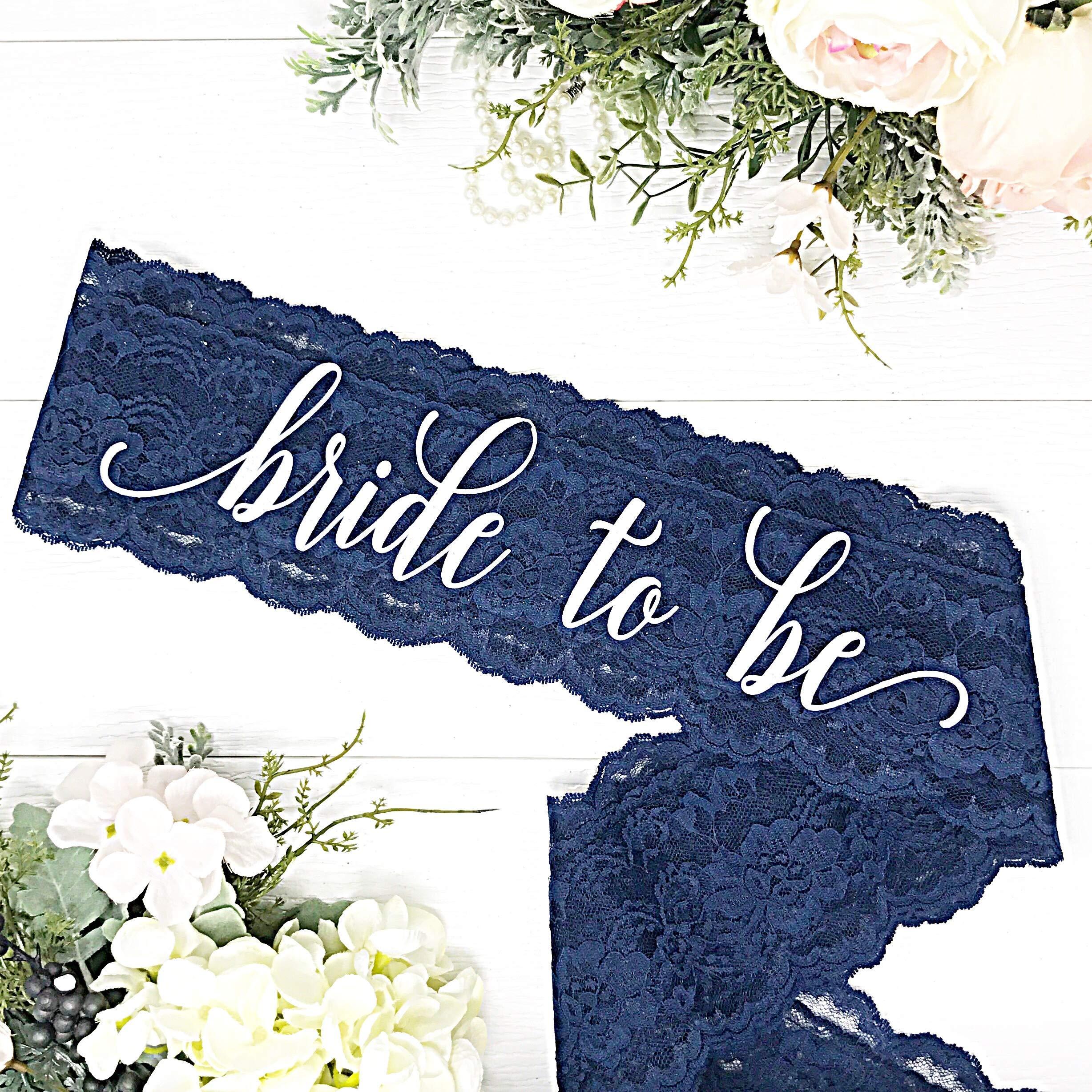 Lace Bachelorette Sash - Navy Lace - White''Bride To Be''