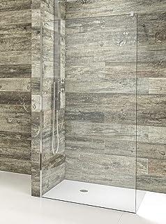Modelo ARCOIRIS - Mampara de ducha de 1 hoja fija - Cristal Templado de 6 mm con ANTICAL INCLUIDO (90 cm): Amazon.es: Bricolaje y herramientas