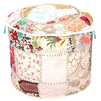Home & Garden Ottomans, Footstools & Poufs Indian Traditional Footstool Patchwork Pouf Ottoman Embroidered Cover Cotton