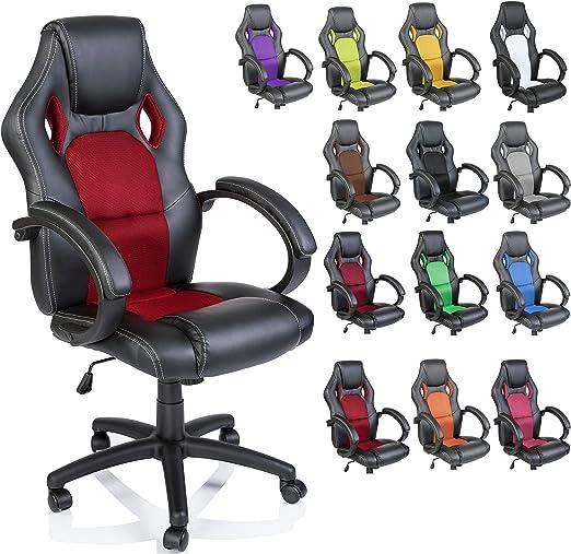 Todo para el streamer: TRESKO Silla giratoria de oficina Sillón de escritorio Racing, silla Gaming ergonómica, cilindro neumático certificado por SGS (Negro/Rojo)