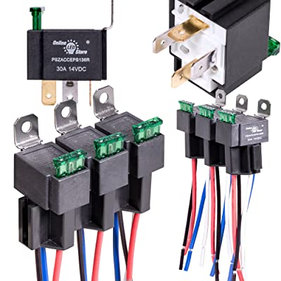6 Pack OLS 30A Fuse Relay Switch Harness Set - 12V DC 4-Pin SPST Automotive Relays 14 AWG Hot Wires