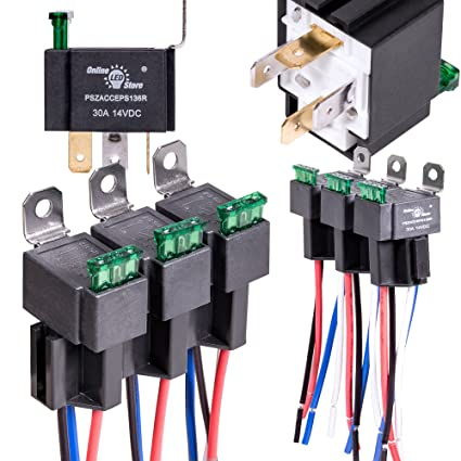 amazon com online led store 6 pack 30a fuse relay switch harness rh amazon com Bosch Relay Harness 5 Pin Relay Harness
