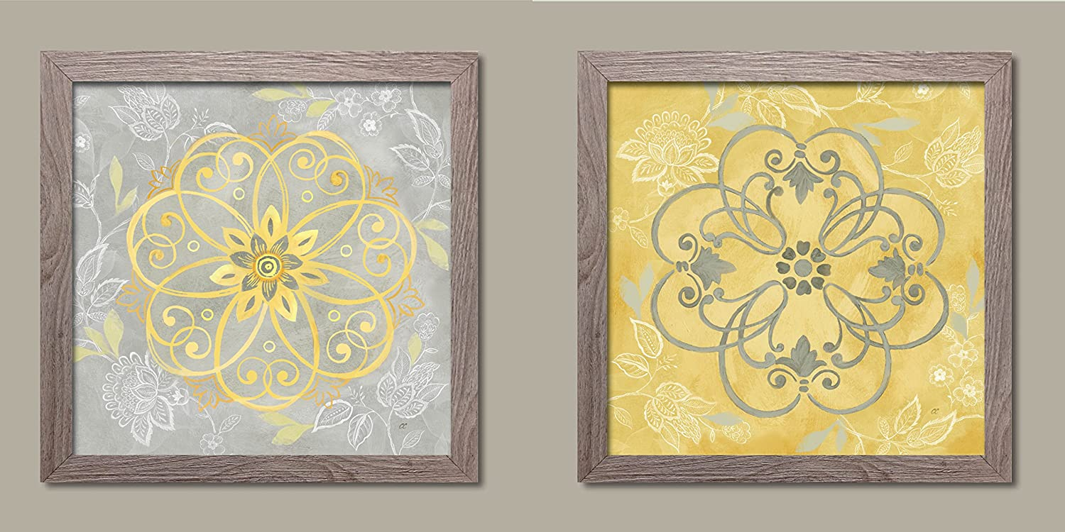 Amazon.com: Lovely Yellow and Grey Jacobean Damask Floral Patterned ...