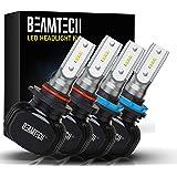 BEAMTECH H11/H8/H9 9005/HB3 LED Headlight Bulb,50W 6500K 8000 Lumens Extremely Bright CSP Chips Conversion Kit 4
