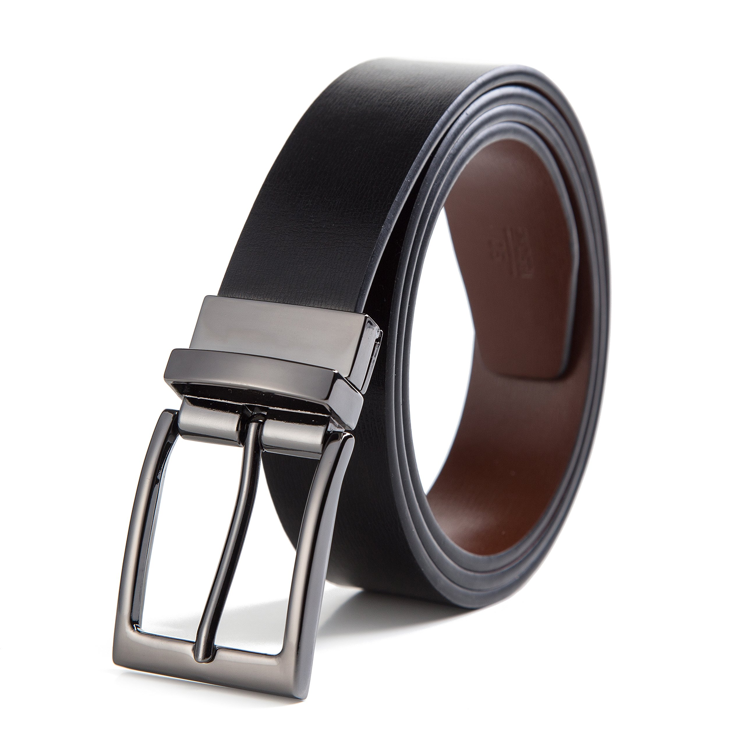 XAvoe Men's Genuine Leather Ratchet Belt Automatic Slide Buckle 1 3/8 Width (Reversible prong belt Black/Brown Style 1, Waist Size 26'' - 43'')
