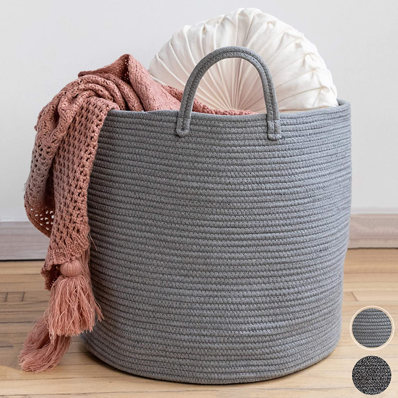 "XXL Premium Cotton Rope Basket 18""x18""x16"" - Big Basket for Blankets Living Room – Woven Laundry Basket- Grey Basket - Large Blanket Basket Living Room - Storage Basket - Large Baskets for Blankets"