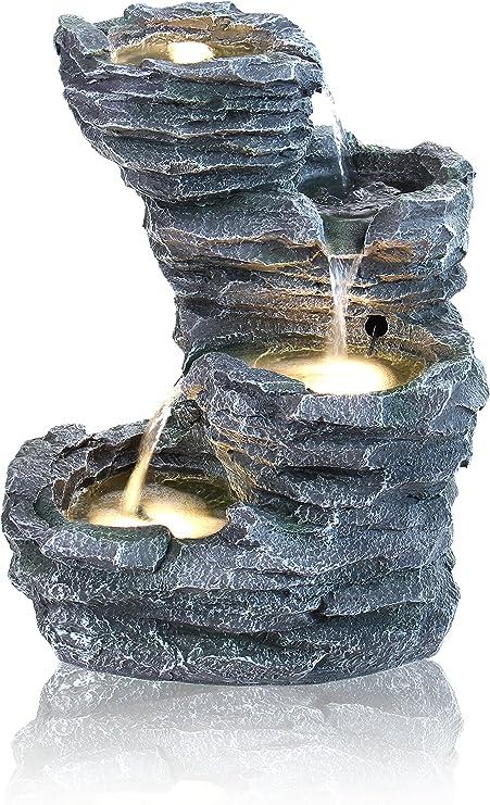 Fuente Cascada de Agua Rocosa Trevell - Luces LED - Ambienté: Amazon.es: Jardín