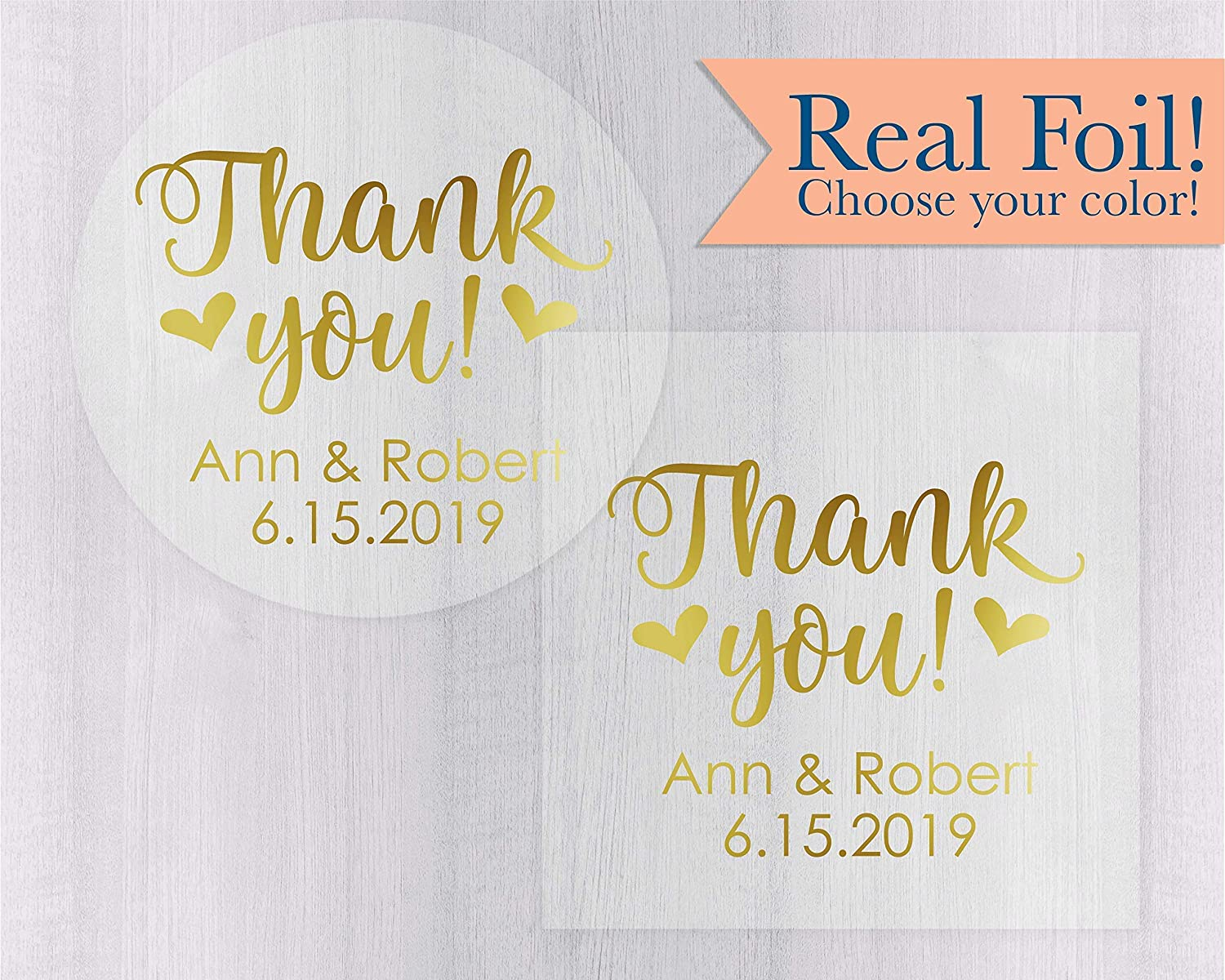Thank you wedding favor stickers clear personalized foiled stickers thank you labels envelope seals 265 cf