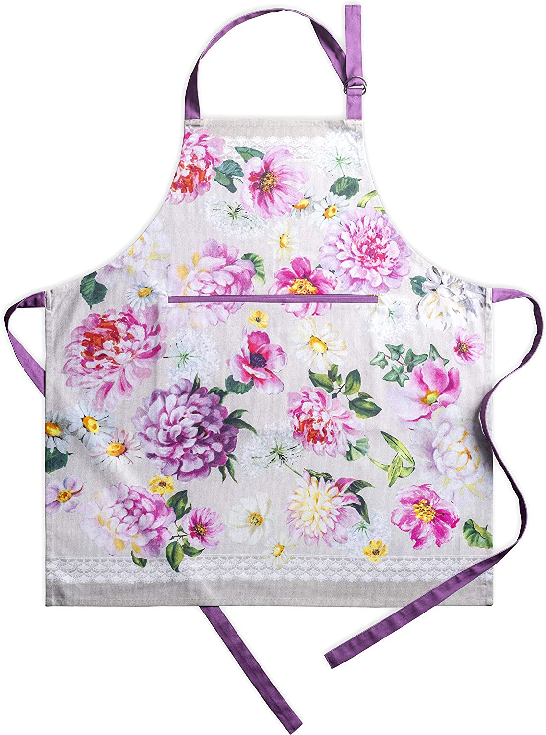 Maison d Hermine Rose Garden 100/% Cotton Apron with an Adjustable Neck /& Visible Center Pocket 27.50 Inch by 31.50 Inch Aspero