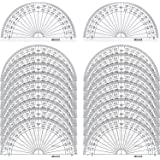 20 Pack Plastic Protractor, 180 Degrees Protractor for Angle Measurement Student Math, 4 Inches, Clear