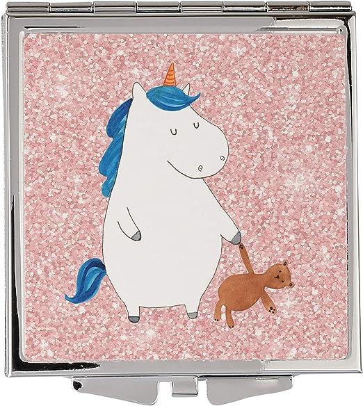 Mr. & Mrs. Panda bolso Espejo cuadrado Unicornio Teddy – Unicornio, unicornios, Unicorn, dormir, buena noche, Solo, cama, Träumen, amiga, Single vida Espejo, bolso de mano, cuadrado, plata, maquillaje, maquillarse: Amazon.es: Hogar