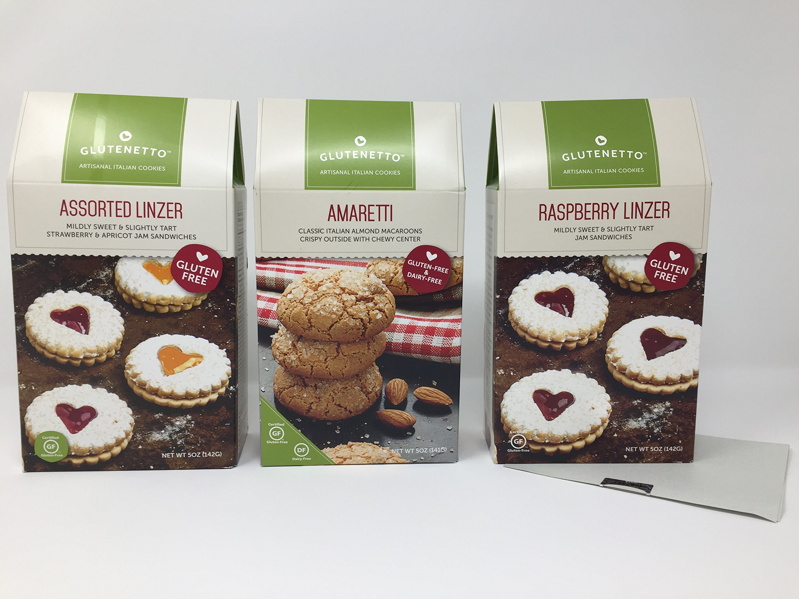 Gluten Free Cookies Glutenetto Gourmet Variety of 3: Raspberry Linzer, Asst Strawberry/Apricot And Amaretti Macaroons Plus a Bonus Free GF Nut Free Candy Recipe from Z-Organics. (3 Items+)