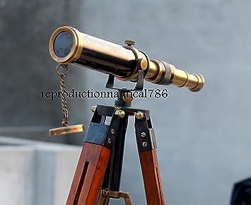 Brass Antique Spyglass Telescope With Wooden Tripod Marine Scope
