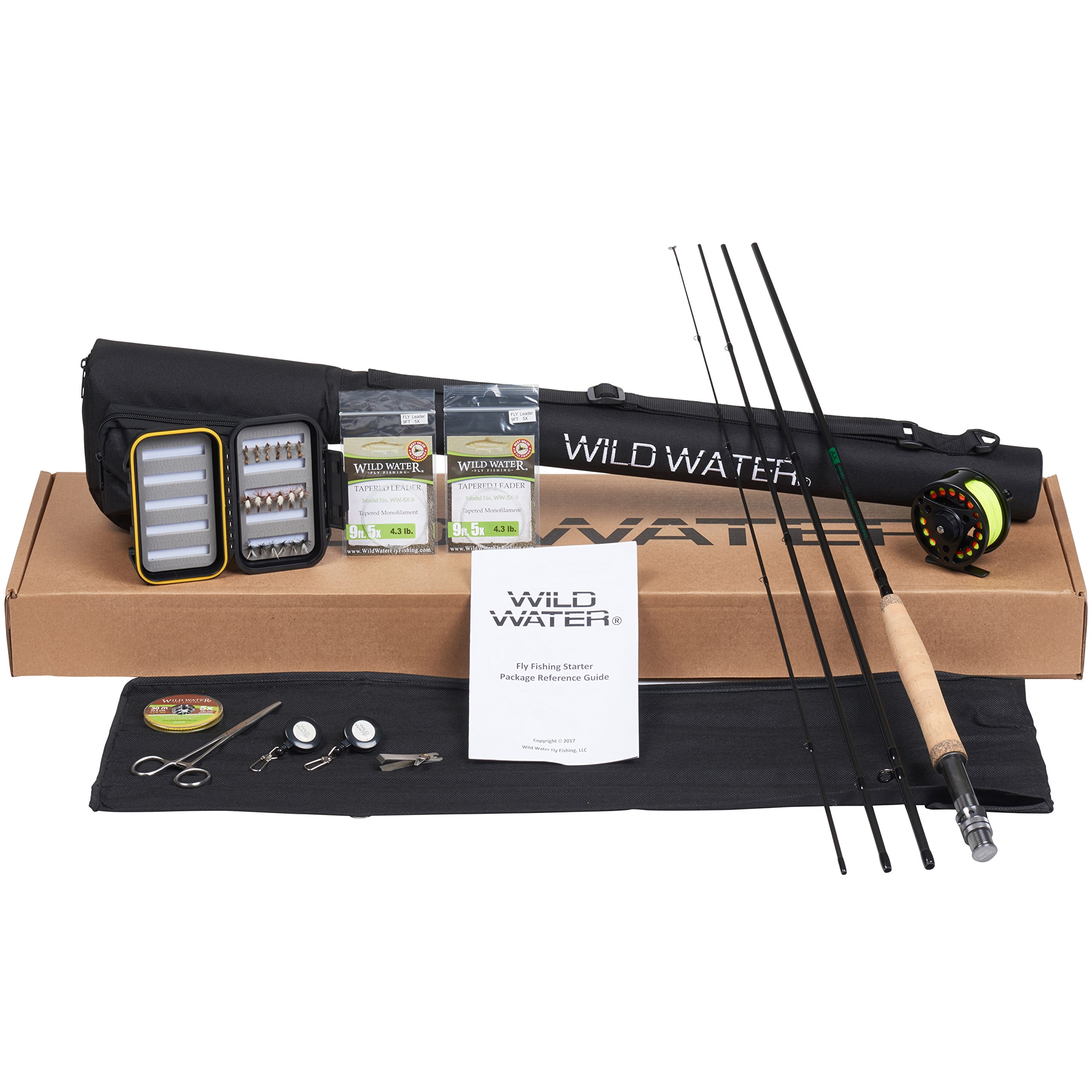 Wild Water Fly Fishing Deluxe Rod and Reel Combo 4 Piece Fly Rod 3/4 9' Complete Starter Package by Wild Water